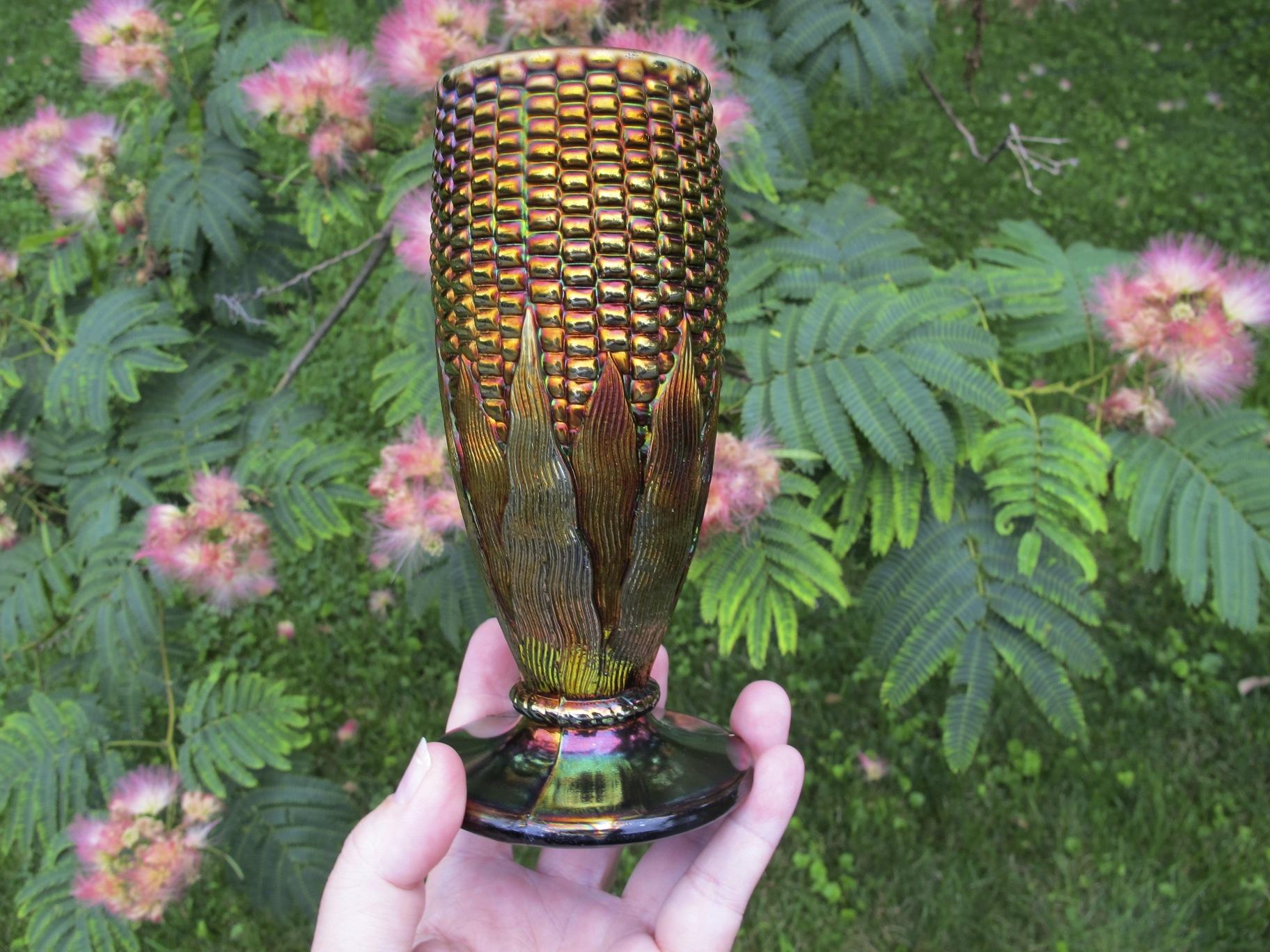 Antique Northwood Blue Carnival Glass Corn Vase Carnival Glass