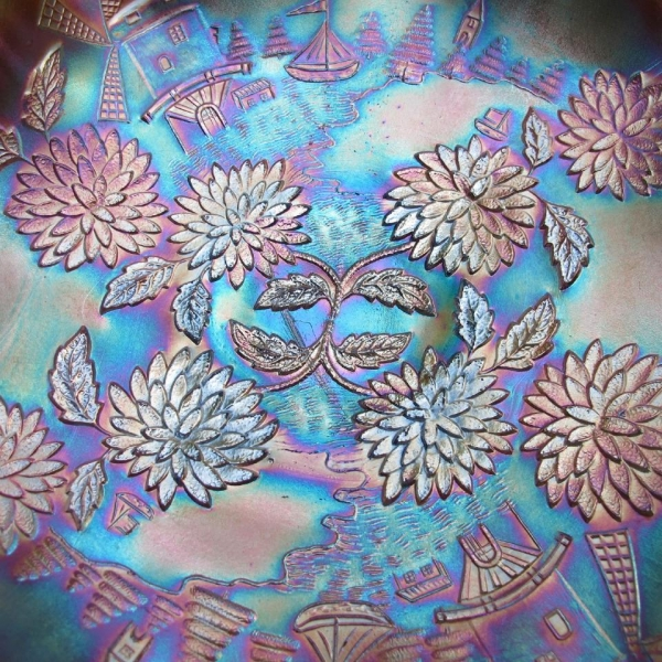 Fenton Powder Blue Chrysanthemum Bowl