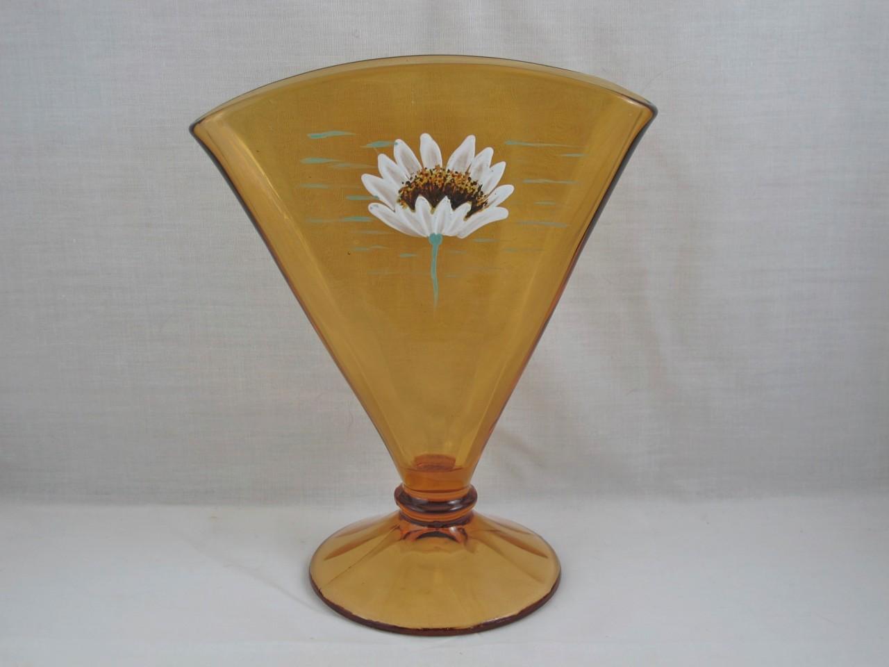Fenton Amber Daisy Enameled Art Glass Fan Vase Carnival Glass