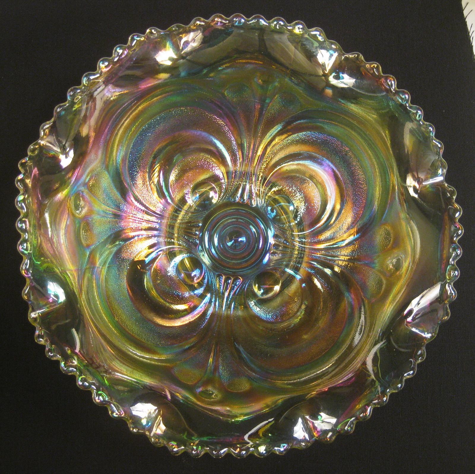 Summit Art Glass Vaseline Scroll Embossed Carnival Glass