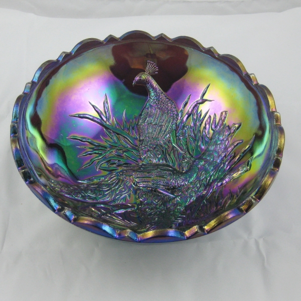 Peacocks Round Bowl A 10997J - Carnival Glass
